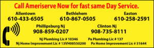 ameriserve plumbing and drain cleaning phone numbers. in Easton 610-258-2591, Phillipsburg Nj. 908-859-0207